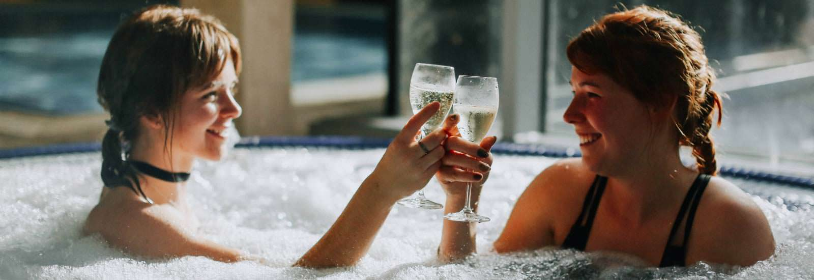 Enjoy a glass of wine at temple spa