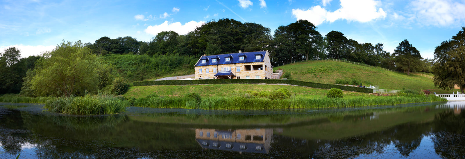 Panoramic view of the Lake House at Raithwaite Estate
